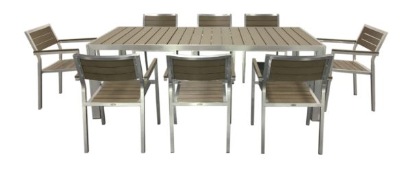 Newport 9pce Poly Timber Dining Setting - Outdoor Furniture Superstore