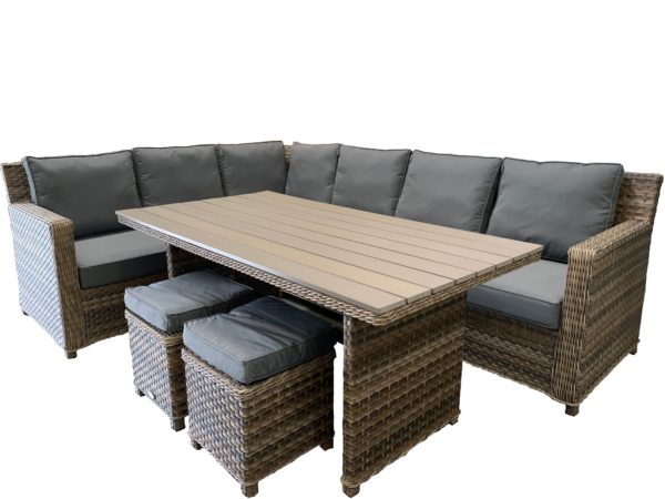 Ballero 5pce Corner Lounge & Dining Set - Outdoor Furniture Superstore