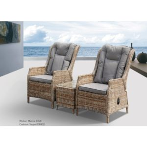 Yarra 3pce Recliner Chair with Ottomans and Side Table - Outdoor Furniture Superstore