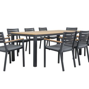 Topaz 9pce Timber and Aluminium Dining Setting - Outdoor Furniture Superstore