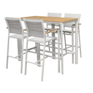 Fina 5pce Bar Setting White - Outdoor Furniture Superstore