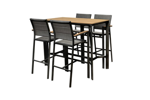 Fina 5pce Bar Setting Black - Outdoor Furniture Superstore