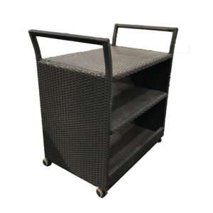 Drinks Trolley Black Wicker