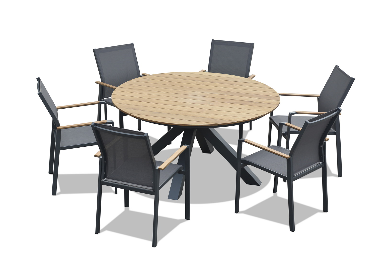 Picture of: Rio Teak 7pce Round Timber Outdoor Dining Settings Outdoor Furniture Superstore