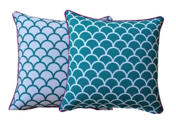 Aqua Fishscale Outdoor Cushion