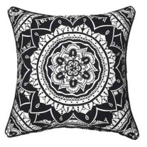 Black Mandala Outdoor Cushion Cover 45 x 45cm