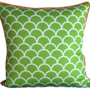 Lime Green Fishscale Outdoor Cushion 45 x 45cm