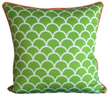 Lime Green Fishscale Outdoor Cushion 45 x 45cm