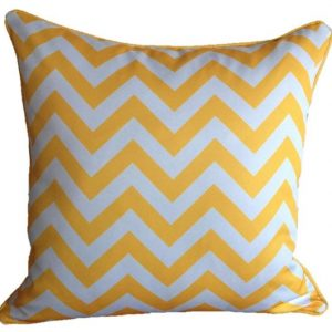 Mykonos Blue Yellow Chevron Outdoor Cushion 45 x 45cm