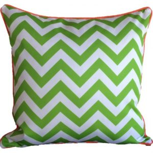 Orange Lime Green Chevron Outdoor Cushion 45 x 45cm